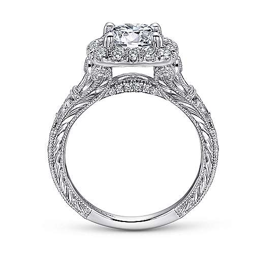 Dulce 18k White Gold Round Halo Engagement Ring angle 2