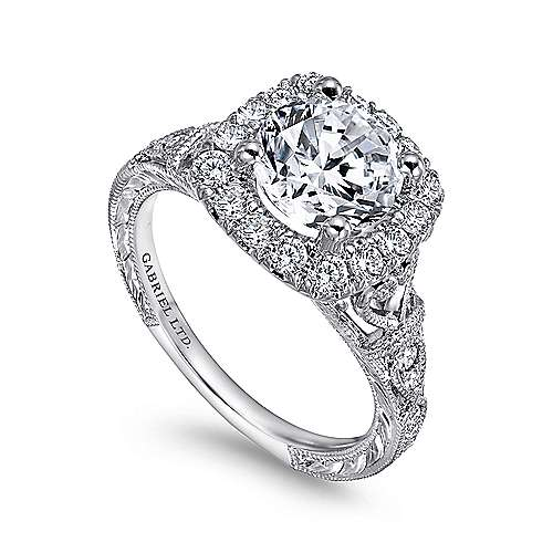 Dulce 18k White Gold Round Halo Engagement Ring angle 3