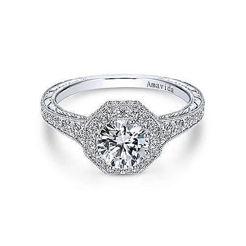 Gabriel - Edie Platinum Round Halo Engagement Ring