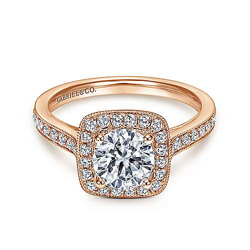 Edith 14k Rose Gold Round Halo Engagement Ring angle 1