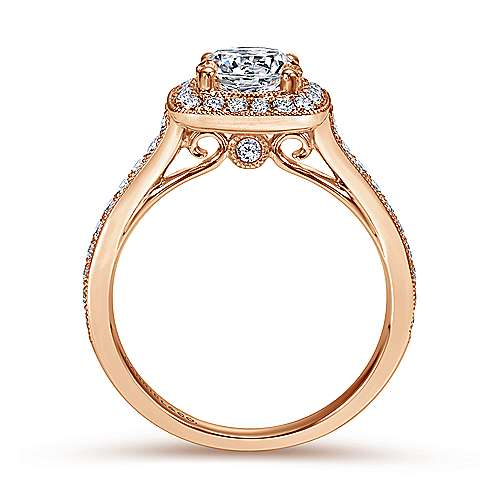 Edith 14k Rose Gold Round Halo Engagement Ring angle 2