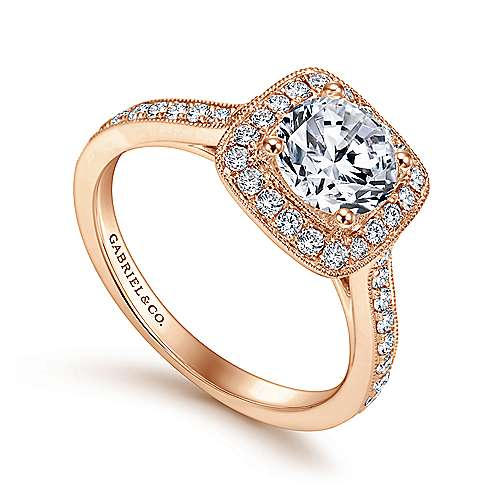 Edith 14k Rose Gold Round Halo Engagement Ring angle 3