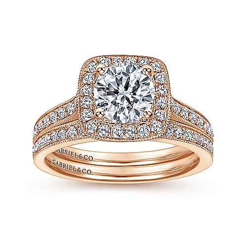 Edith 14k Rose Gold Round Halo Engagement Ring angle 4