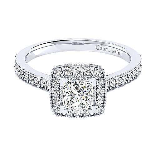 Edith 14k White Gold Princess Cut Halo Engagement Ring angle 1