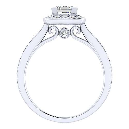 Edith 14k White Gold Princess Cut Halo Engagement Ring angle 2