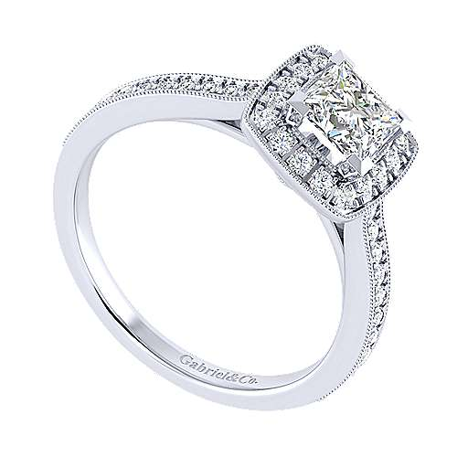 Edith 14k White Gold Princess Cut Halo Engagement Ring angle 3