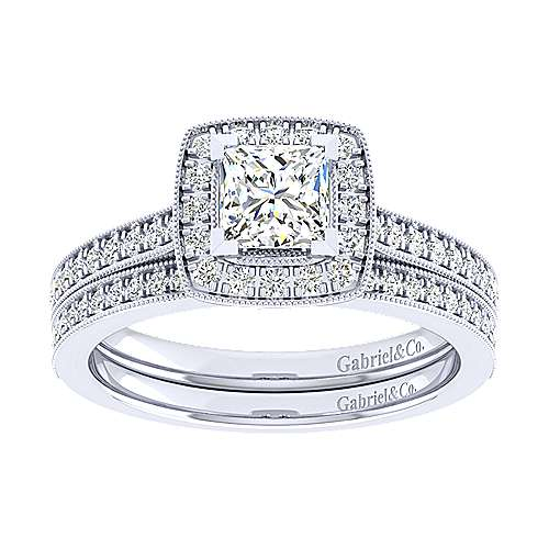 Edith 14k White Gold Princess Cut Halo Engagement Ring angle 4