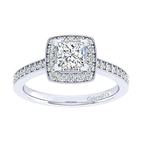 Edith 14k White Gold Princess Cut Halo Engagement Ring angle 5