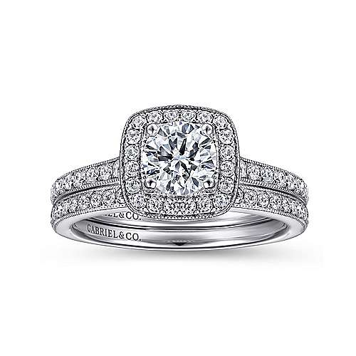 Edith 14k White Gold Round Halo Engagement Ring angle 4