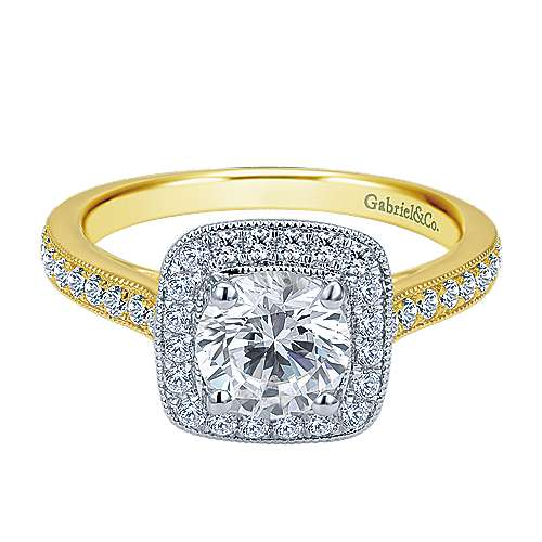 Edith 14k Yellow And White Gold Round Halo Engagement Ring angle 1