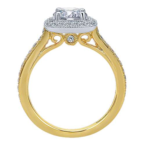 Edith 14k Yellow And White Gold Round Halo Engagement Ring angle 2