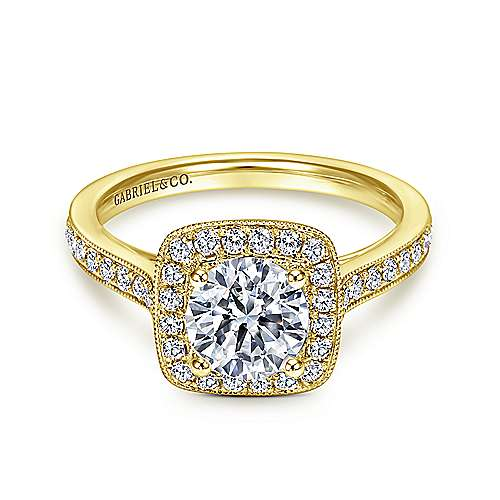 Gabriel - Edith 14k Yellow Gold Round Halo Engagement Ring