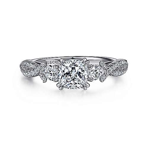 Edlynn 14k White Gold Cushion Cut 3 Stones Engagement Ring angle 1