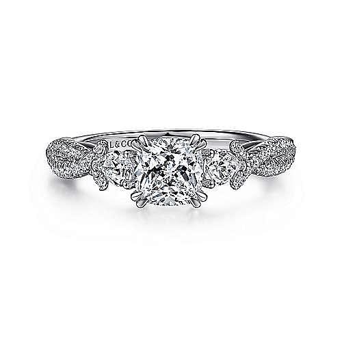 Edlynn 14k White Gold Cushion Cut 3 Stones Engagement Ring
