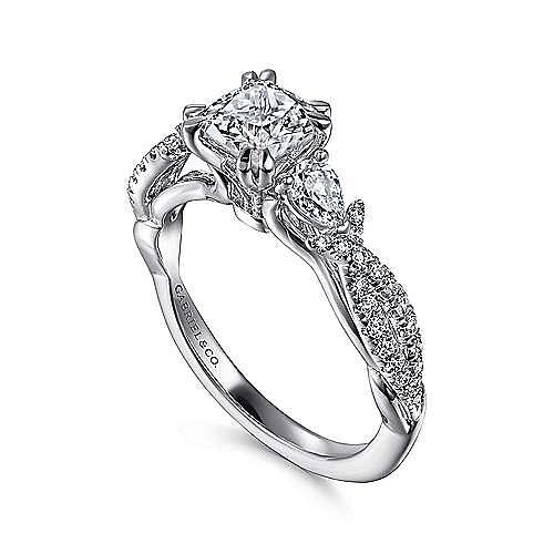 Edlynn 14k White Gold Cushion Cut 3 Stones Engagement Ring angle 3