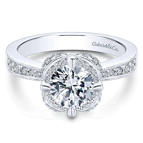 Edwina 14k White Gold Round Halo Engagement Ring angle 1