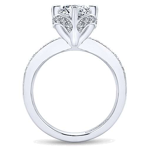 Edwina 14k White Gold Round Halo Engagement Ring angle 2