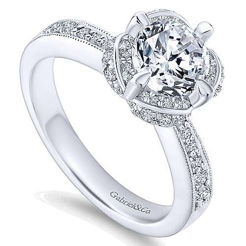 Edwina 14k White Gold Round Halo Engagement Ring angle 3