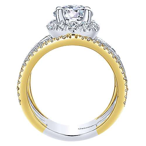 Efron 18k Yellow And White Gold Round Halo Engagement Ring angle 2