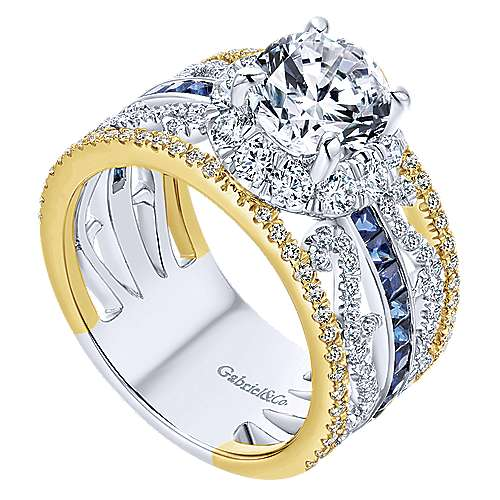 Efron 18k Yellow And White Gold Round Halo Engagement Ring angle 3