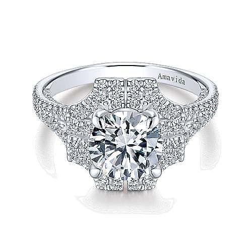 Ego 18k White Gold Round Halo Engagement Ring angle 1