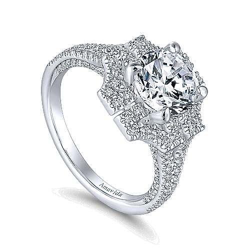 Ego 18k White Gold Round Halo Engagement Ring angle 3