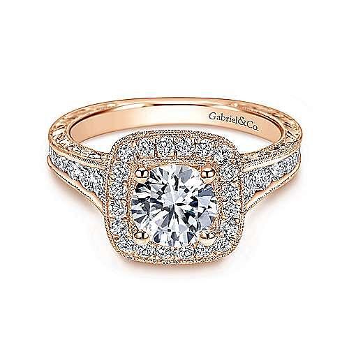 Elaine 14k Rose Gold Round Halo Engagement Ring angle 1