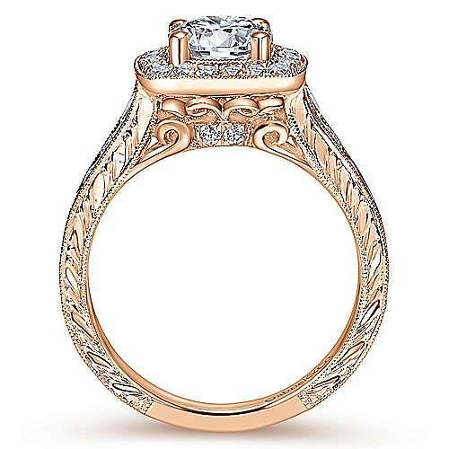 Elaine 14k Rose Gold Round Halo Engagement Ring angle 2