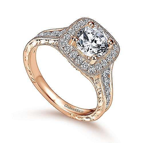 Elaine 14k Rose Gold Round Halo Engagement Ring angle 3