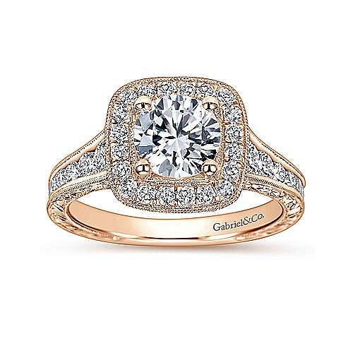 Elaine 14k Rose Gold Round Halo Engagement Ring angle 5