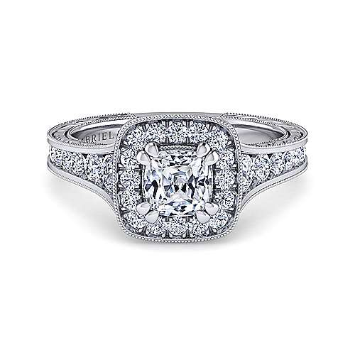 Gabriel - Elaine 14k White Gold Cushion Cut Halo Engagement Ring
