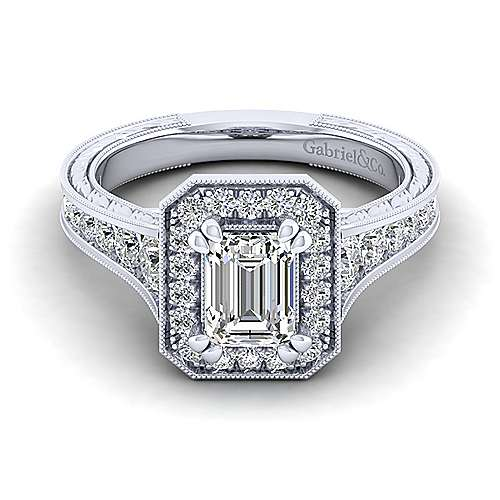 Gabriel - Elaine 14k White Gold Emerald Cut Halo Engagement Ring