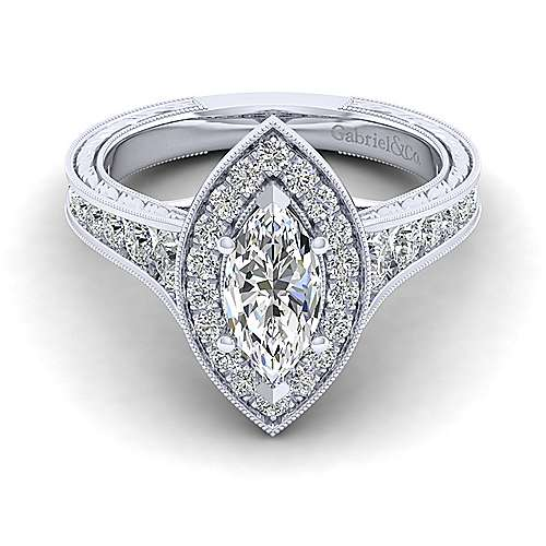 Gabriel - Elaine 14k White Gold Marquise  Halo Engagement Ring