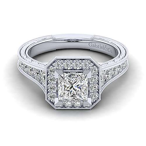 Gabriel - Elaine 14k White Gold Princess Cut Halo Engagement Ring