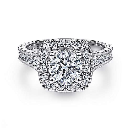 Gabriel - Elaine 14k White Gold Round Halo Engagement Ring