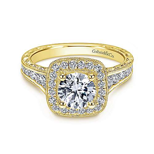 Elaine 14k Yellow Gold Round Halo Engagement Ring angle 1