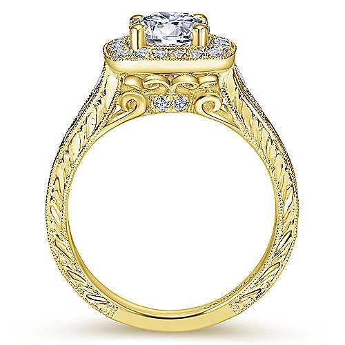 Elaine 14k Yellow Gold Round Halo Engagement Ring angle 2