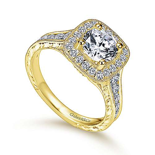 Elaine 14k Yellow Gold Round Halo Engagement Ring angle 3