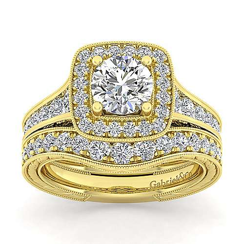 Elaine 14k Yellow Gold Round Halo Engagement Ring angle 4