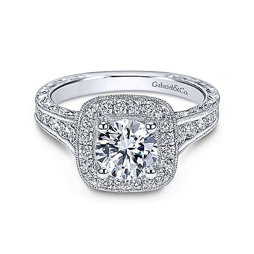Gabriel - Elaine 18k White Gold Round Halo Engagement Ring