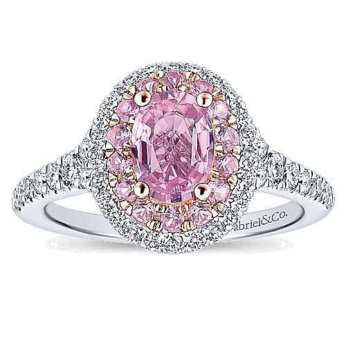Elara 14k White And Rose Gold Oval Double Halo Engagement Ring angle 5