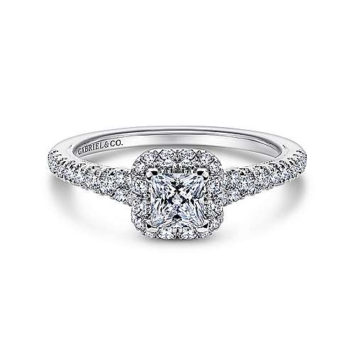 Gabriel - Eleanora 14k White Gold Princess Cut Halo Engagement Ring