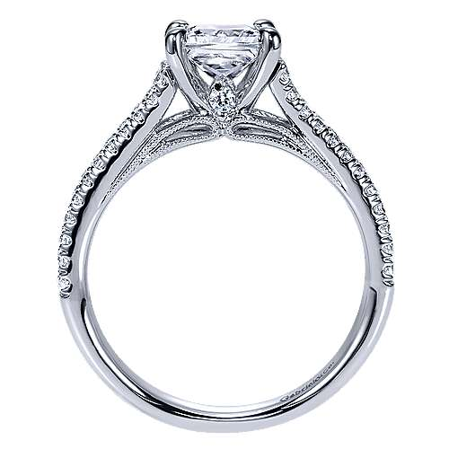 Eli 14k White Gold Princess Cut Split Shank Engagement Ring angle 2