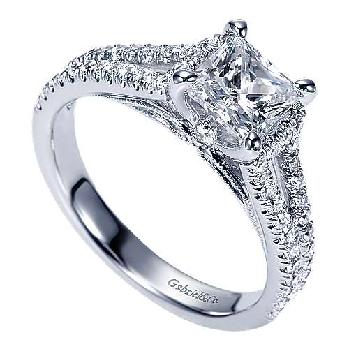 Eli 14k White Gold Princess Cut Split Shank Engagement Ring angle 3