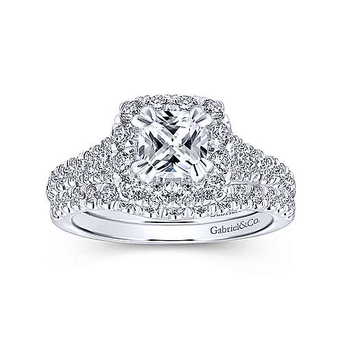 Eliana 14k White And Rose Gold Cushion Cut Halo Engagement Ring angle 4
