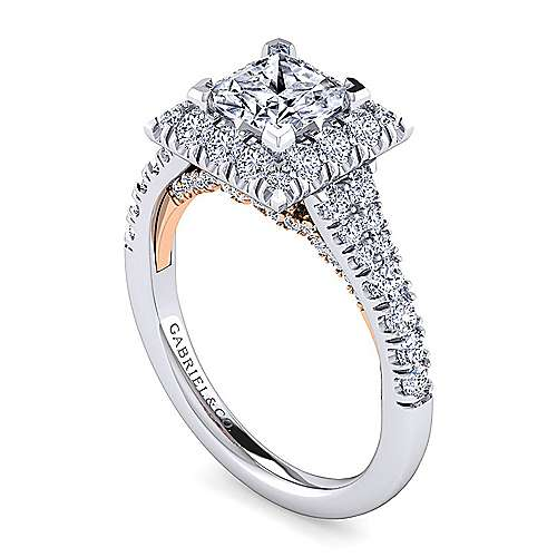 Eliana 14k White And Rose Gold Princess Cut Halo Engagement Ring
