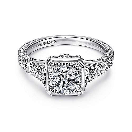 Elisa Platinum Round Halo Engagement Ring angle 1