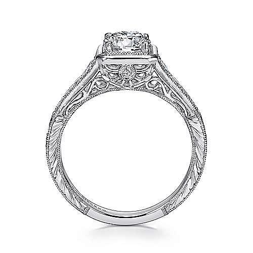 Elisa Platinum Round Halo Engagement Ring angle 2