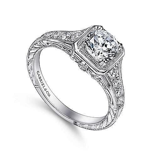 Elisa Platinum Round Halo Engagement Ring angle 3