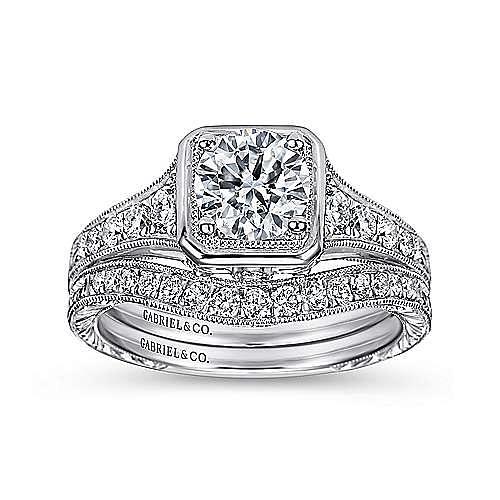 Elisa Platinum Round Halo Engagement Ring angle 4